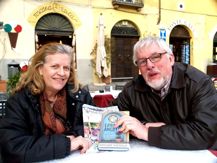 Meeting with the editor of Tuscany's GRAPEVINE English-language magazine. Thanks for your time, Norma.