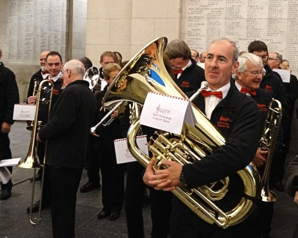 East Grinstead Concert Band getting read to play under the Menin Gate in Ypres (Ieper), Belgium.