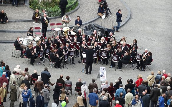 East Grinstead Concert Band performing in the Market Square of Brugges, Belgium.