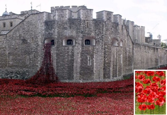 "The ceramic poppies ""pour"" out of the Tower and fill the entire moat."