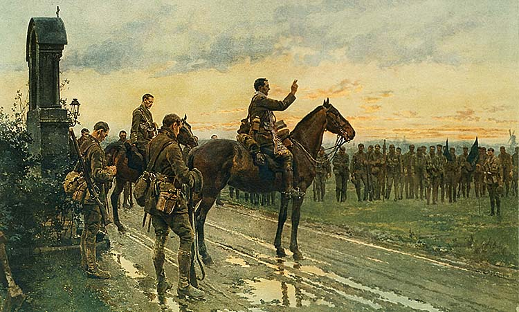 Fortunino Matania's painting of Father Francis Gleeson (1884–1959), Blessing the Royal Munster Fusiliers at Rue du Bois, before the Battle of Aubers Ridge.