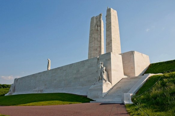 The Canadian memorial on the top of Vimy Ridge. Impressive in it's almost austere simplicity.