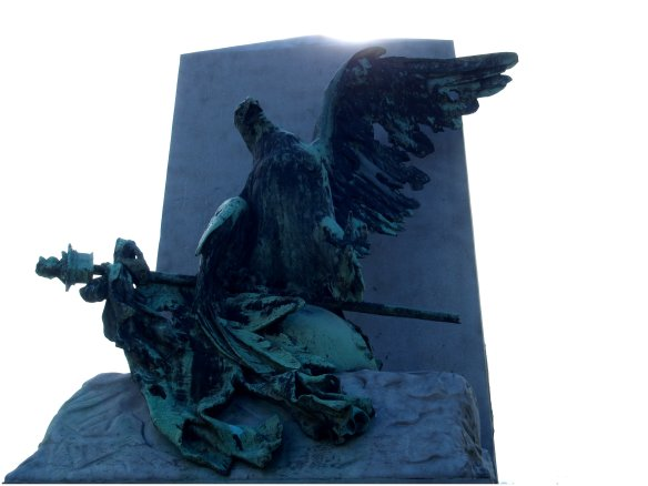 "The ""Fallen Eagle"" monument, honouring the last soldiers of Napoleon's Imperial Guard, who fought at Waterloo."